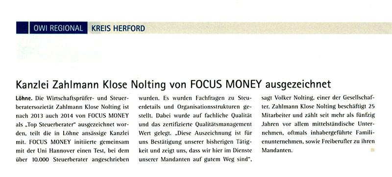 Kanzlei Zahlmann Klose Nolting von Focus Money ausgezeichnet