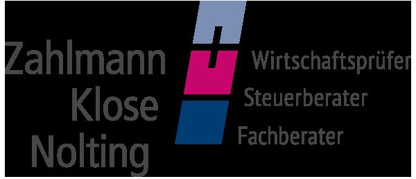 Logo Zahlmann Klose Nolting - Steuerberater. Wirtschaftsprüfer. Fachberater.